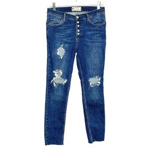 Free People High Rise Skinny Button Fly Jeans 29